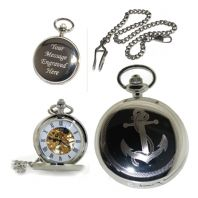 Anchor Mechanical Skeleton Pocket Watch